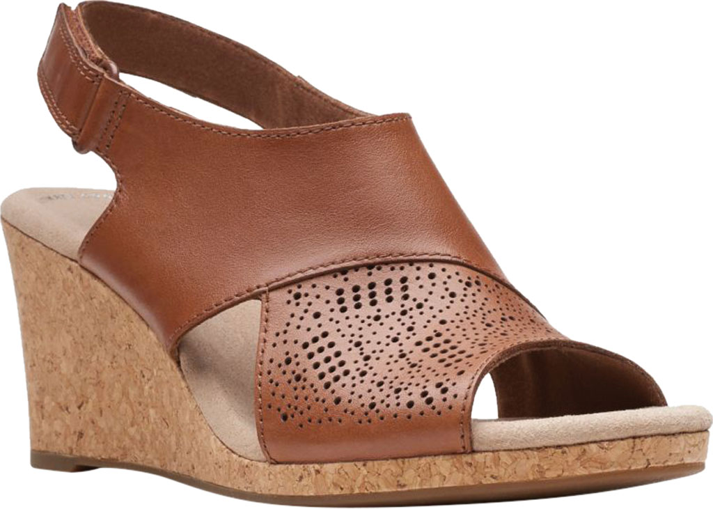 Women's Clarks Lafley Joy Perforated Wedge Sandal, Tan Leather, large, image 1