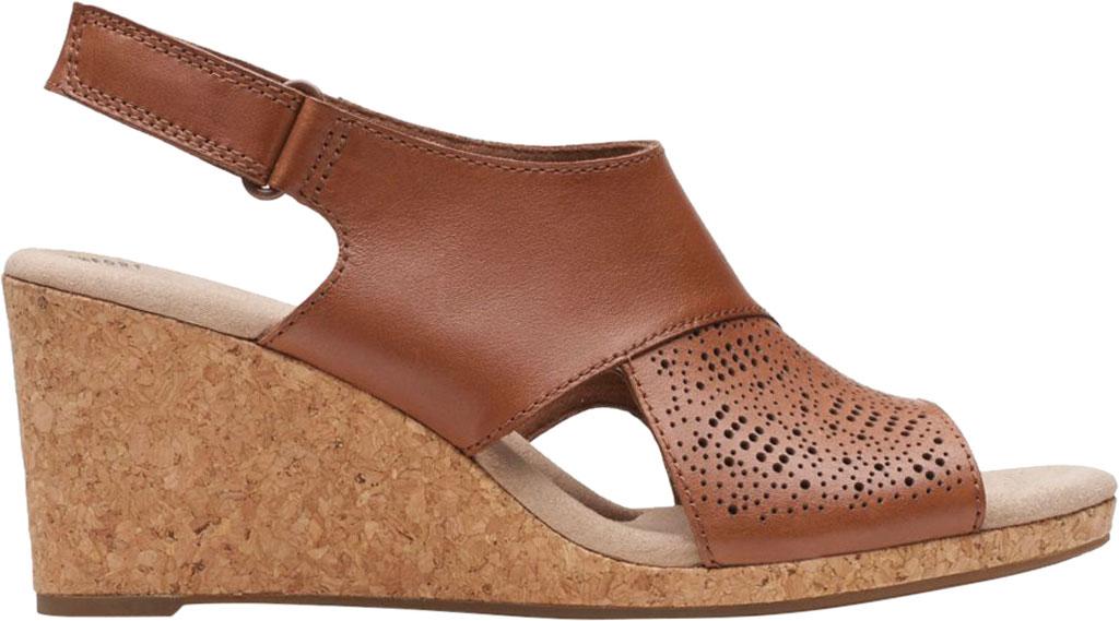 Women's Clarks Lafley Joy Perforated Wedge Sandal, Tan Leather, large, image 2