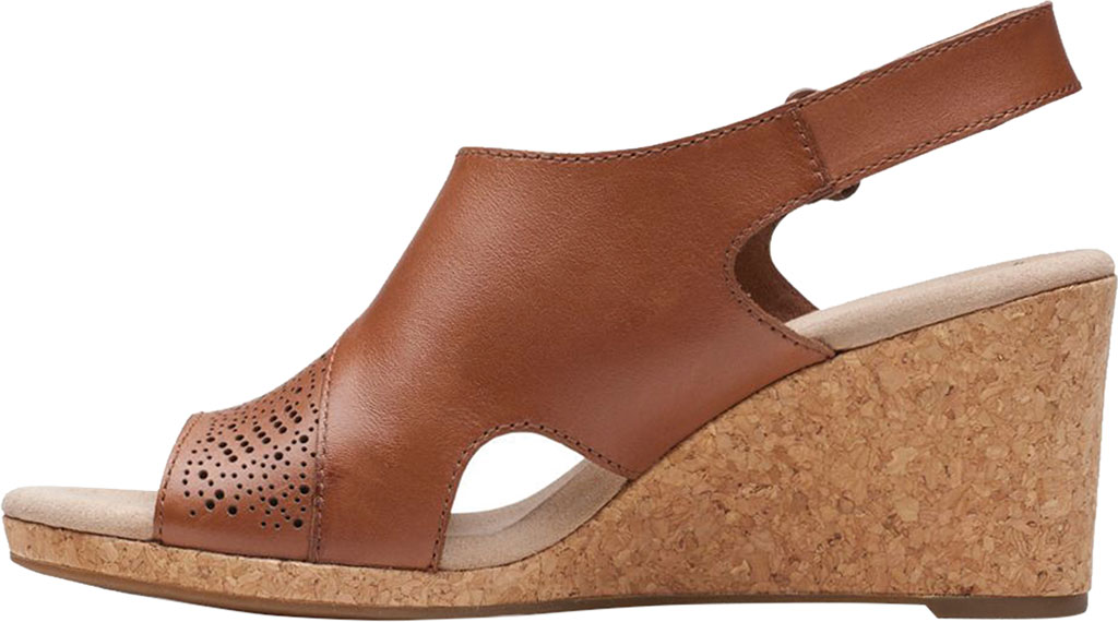 Women's Clarks Lafley Joy Perforated Wedge Sandal, Tan Leather, large, image 3
