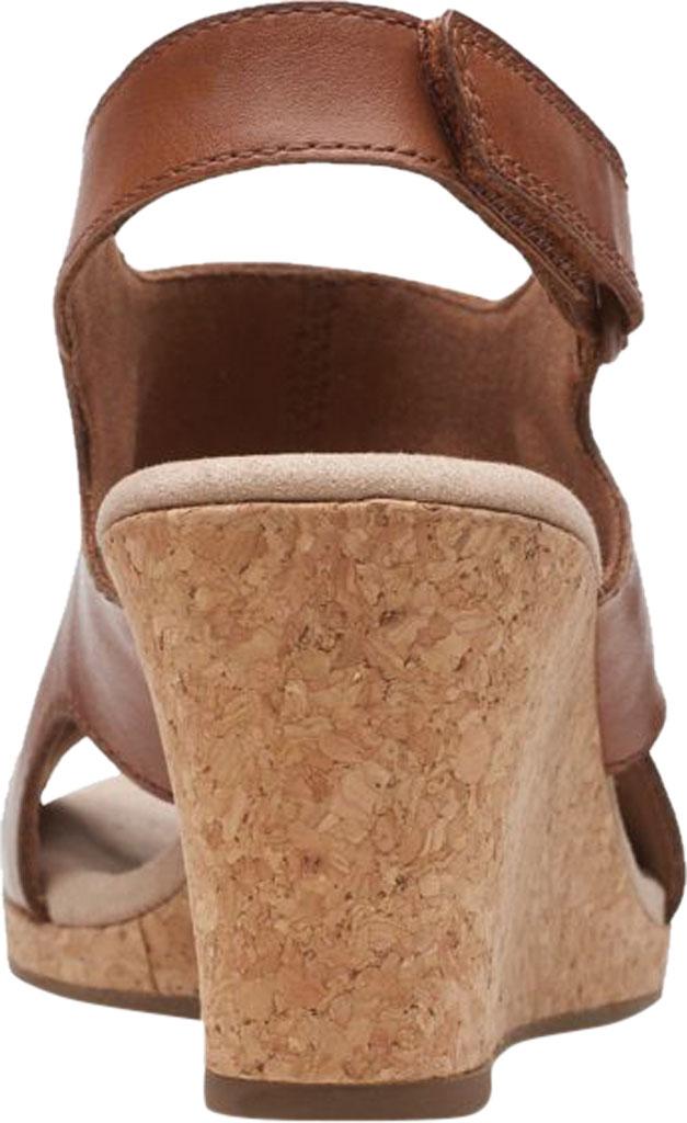 Women's Clarks Lafley Joy Perforated Wedge Sandal, Tan Leather, large, image 4