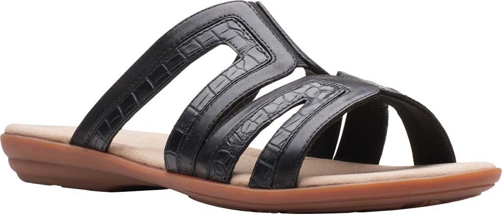 Women's Clarks Ada Lilah Slide, Black/Black Croco Full Grain Leather, large, image 1