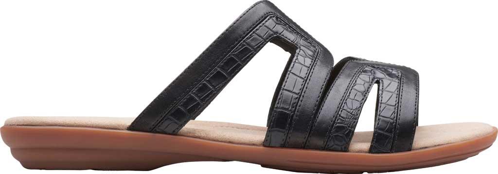 Women's Clarks Ada Lilah Slide, Black/Black Croco Full Grain Leather, large, image 2