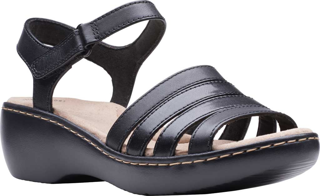 Women's Clarks Delana Brenna Strappy Sandal, Black Full Grain Leather, large, image 1