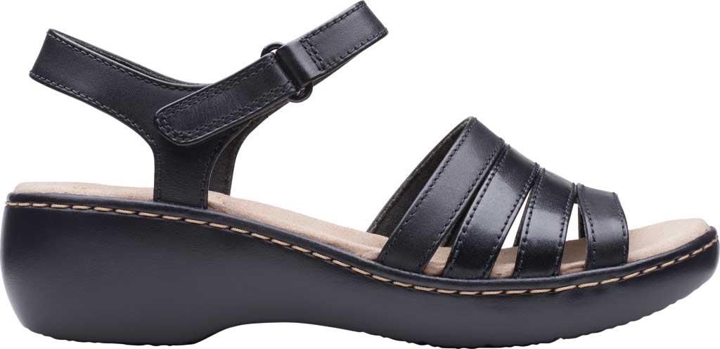 Women's Clarks Delana Brenna Strappy Sandal, Black Full Grain Leather, large, image 2
