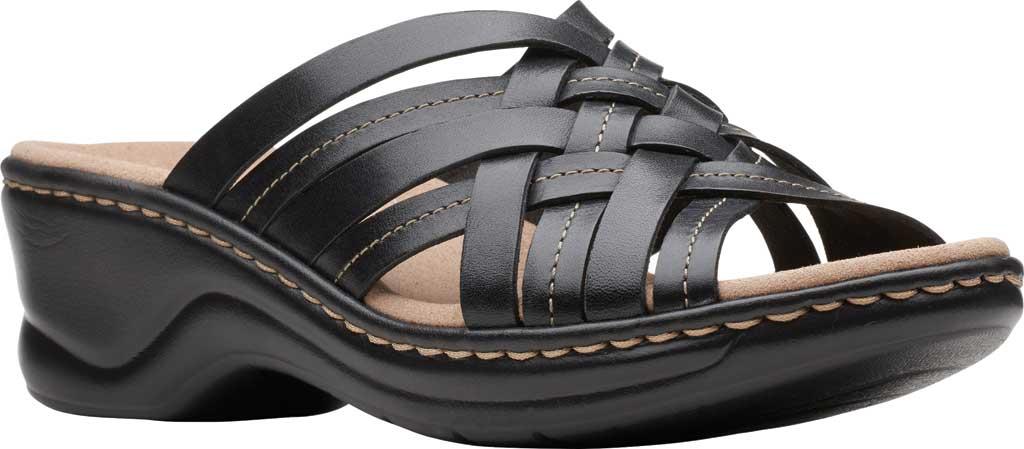 Women's Clarks Lexi Selina Slide, Black Full Grain Leather, large, image 1