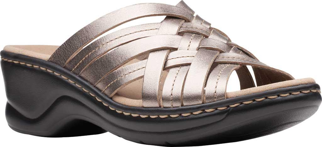 Women's Clarks Lexi Selina Slide, Pewter Metallic Full Grain Leather, large, image 1