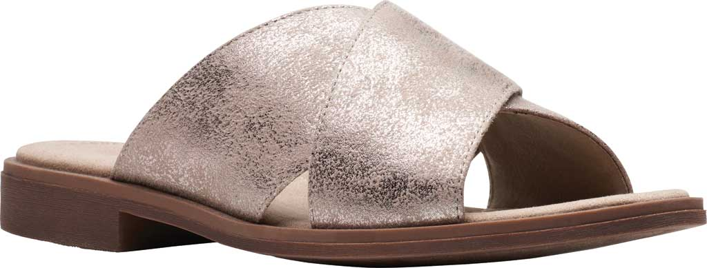 Women's Clarks Declan Ivy Cross Strap Slide, Pewter Metallic Textile, large, image 1