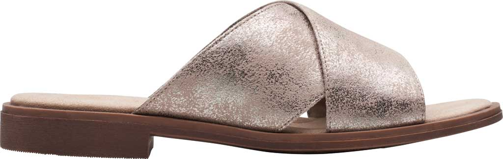 Women's Clarks Declan Ivy Cross Strap Slide, Pewter Metallic Textile, large, image 2