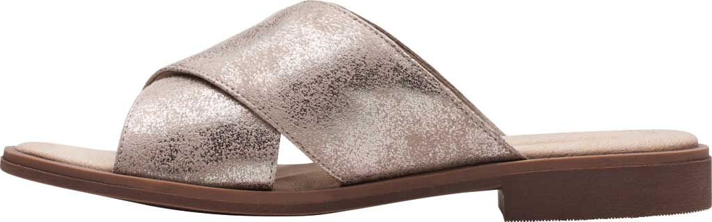 Women's Clarks Declan Ivy Cross Strap Slide, Pewter Metallic Textile, large, image 3