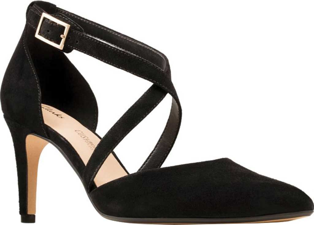 Women's Clarks Laina85 Cross Stiletto, Black Suede, large, image 1