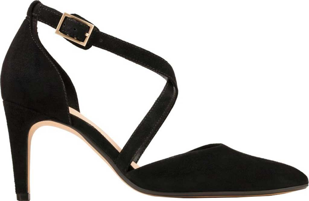 Women's Clarks Laina85 Cross Stiletto, Black Suede, large, image 2