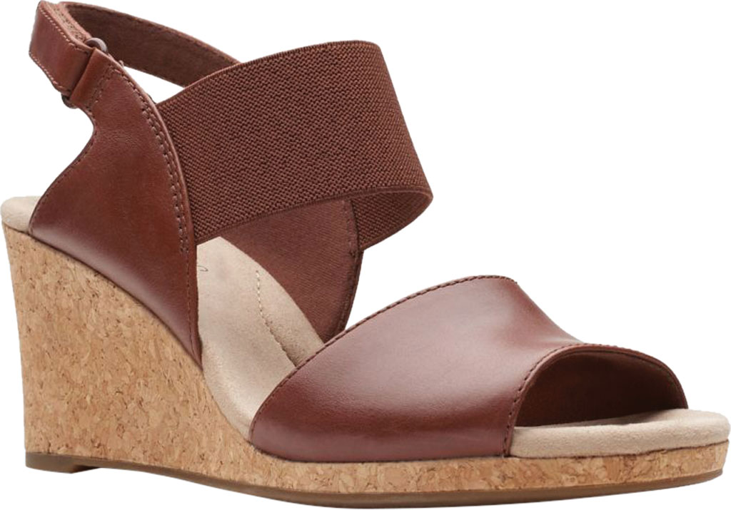 Women's Clarks Lafley Lily Wedge Sandal, Tan Leather, large, image 1