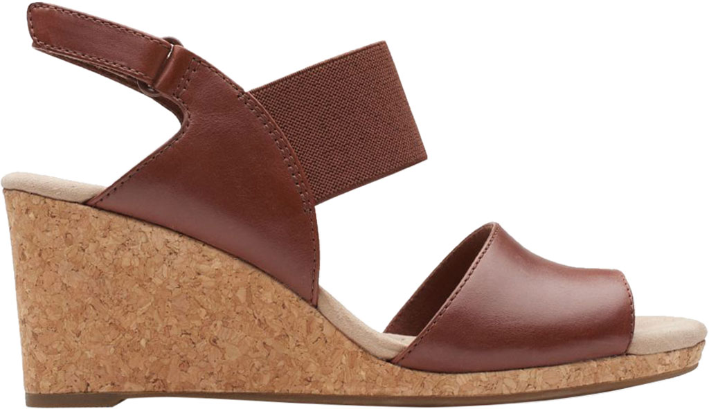 Women's Clarks Lafley Lily Wedge Sandal, Tan Leather, large, image 2