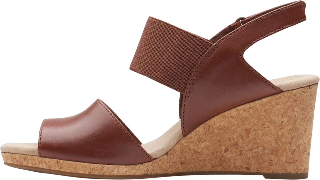 Women's Clarks Lafley Lily Wedge Sandal, Tan Leather, large, image 3