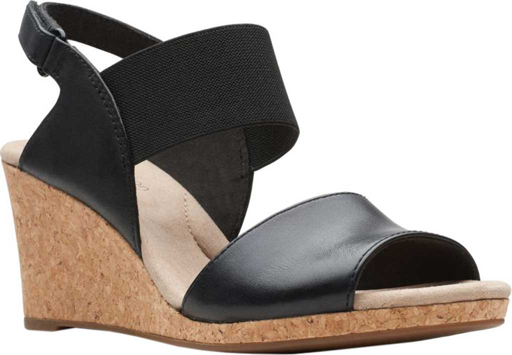 Women's Clarks Lafley Lily Wedge Sandal, Black Leather/Textile Combi, large, image 1