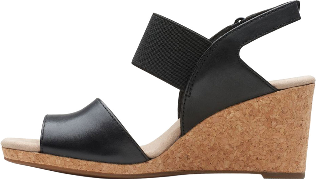 Women's Clarks Lafley Lily Wedge Sandal, Black Leather/Textile Combi, large, image 3