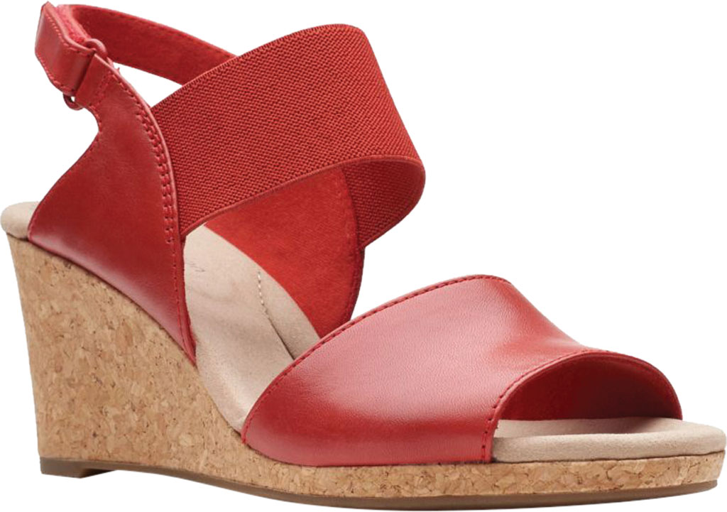 Women's Clarks Lafley Lily Wedge Sandal, Red Leather/Textile, large, image 1
