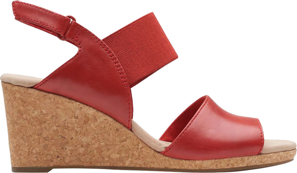 Women's Clarks Lafley Lily Wedge Sandal, Red Leather/Textile, large, image 2