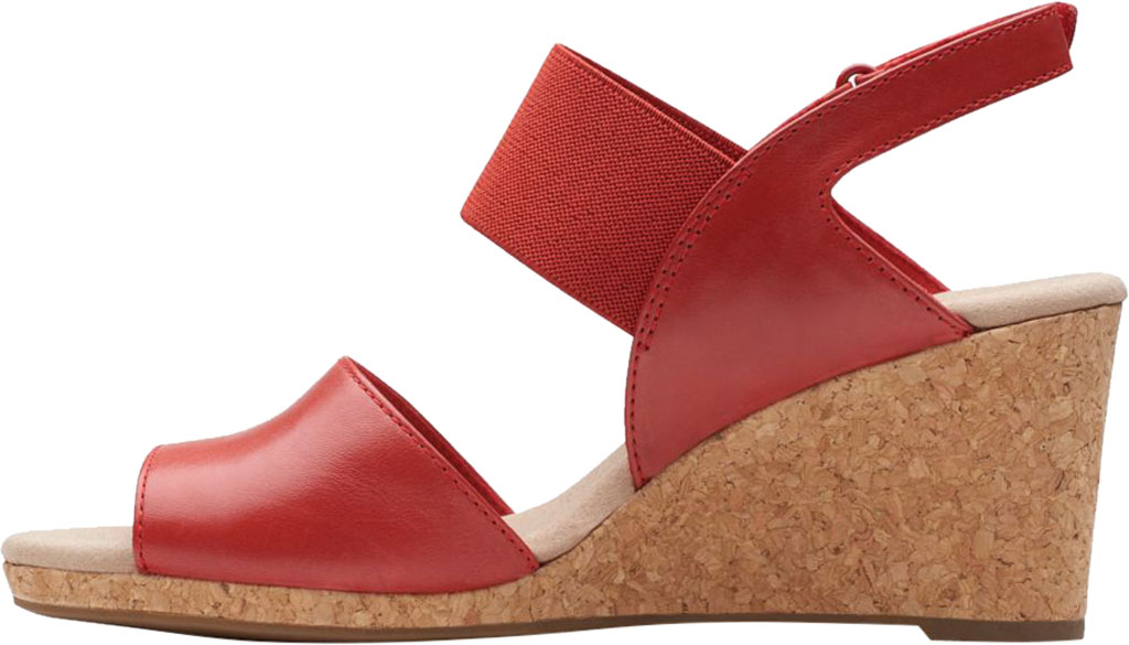 Women's Clarks Lafley Lily Wedge Sandal, Red Leather/Textile, large, image 3