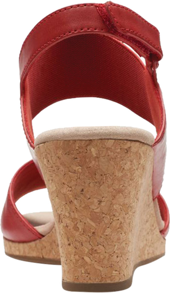 Women's Clarks Lafley Lily Wedge Sandal, Red Leather/Textile, large, image 4