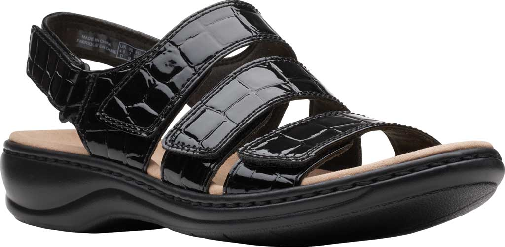 Women's Clarks Leisa Melinda Slingback Sandal, Black Patent Croco Leather, large, image 1