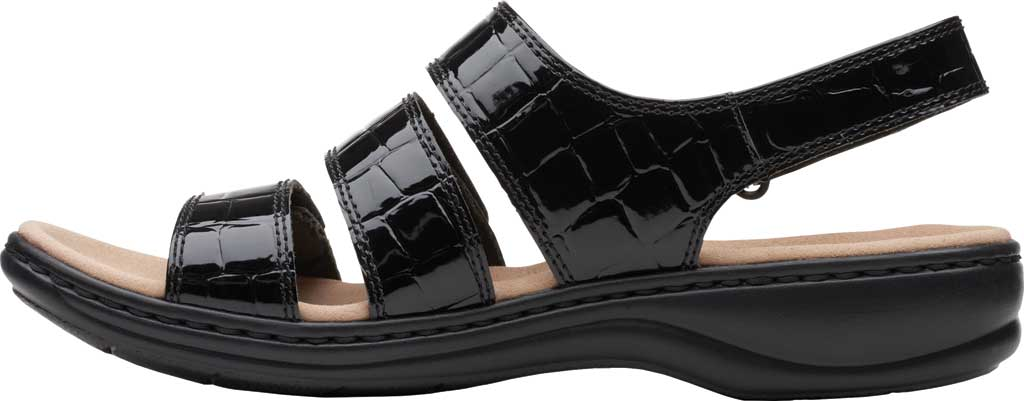 Women's Clarks Leisa Melinda Slingback Sandal, Black Patent Croco Leather, large, image 3