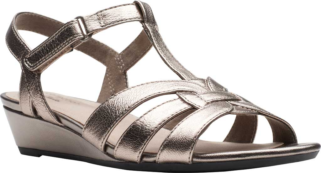 Women's Clarks Abigail Daisy Wedge Sandal, Metallic Multi Full Grain Leather, large, image 1