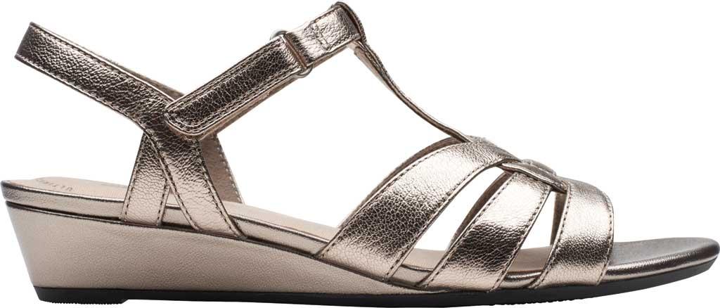 Women's Clarks Abigail Daisy Wedge Sandal, Metallic Multi Full Grain Leather, large, image 2