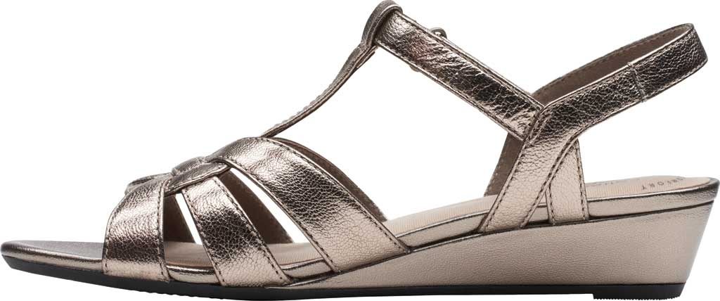 Women's Clarks Abigail Daisy Wedge Sandal, Metallic Multi Full Grain Leather, large, image 3