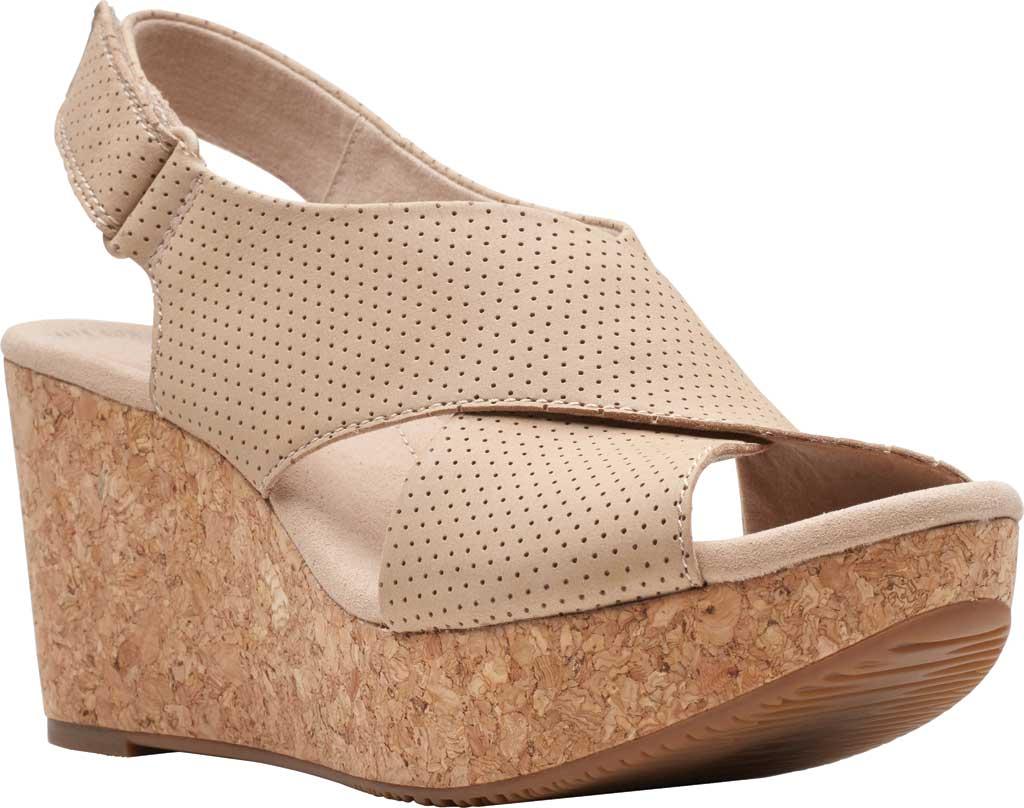 Women's Clarks Annadel Parker Wedge Sandal, Sand Suede, large, image 1