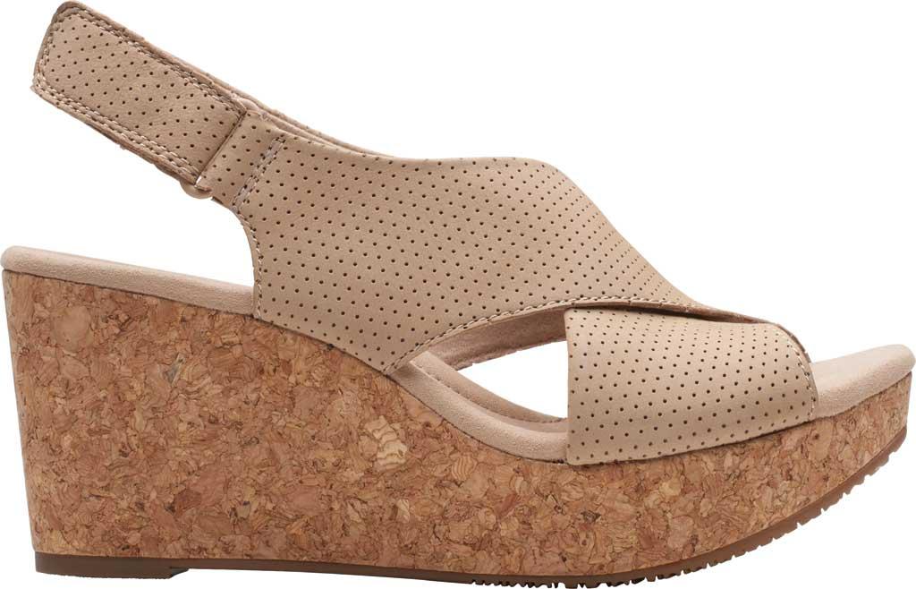 Women's Clarks Annadel Parker Wedge Sandal, Sand Suede, large, image 2