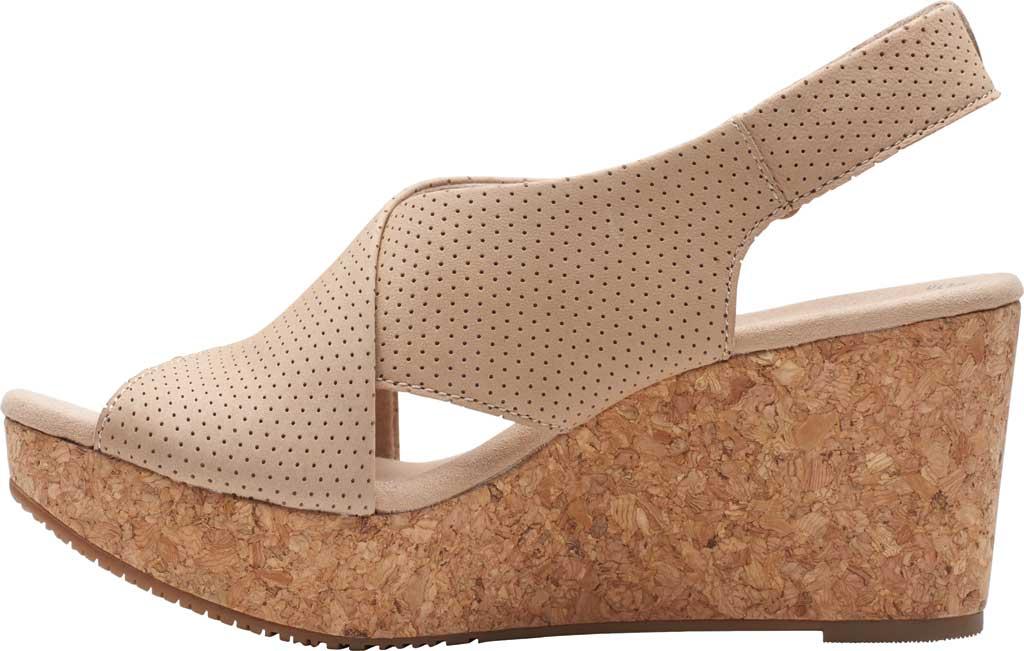 Women's Clarks Annadel Parker Wedge Sandal, Sand Suede, large, image 3