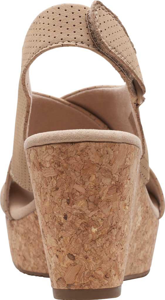 Women's Clarks Annadel Parker Wedge Sandal, Sand Suede, large, image 4