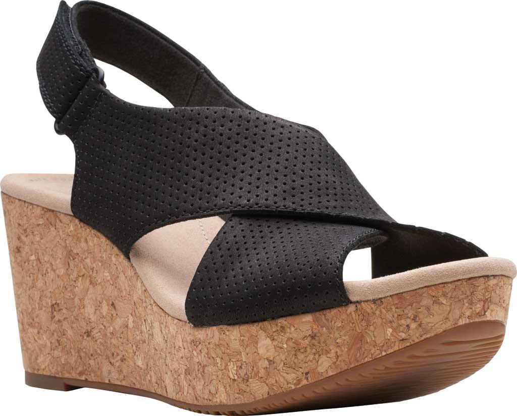 Women's Clarks Annadel Parker Wedge Sandal, Black Suede, large, image 1