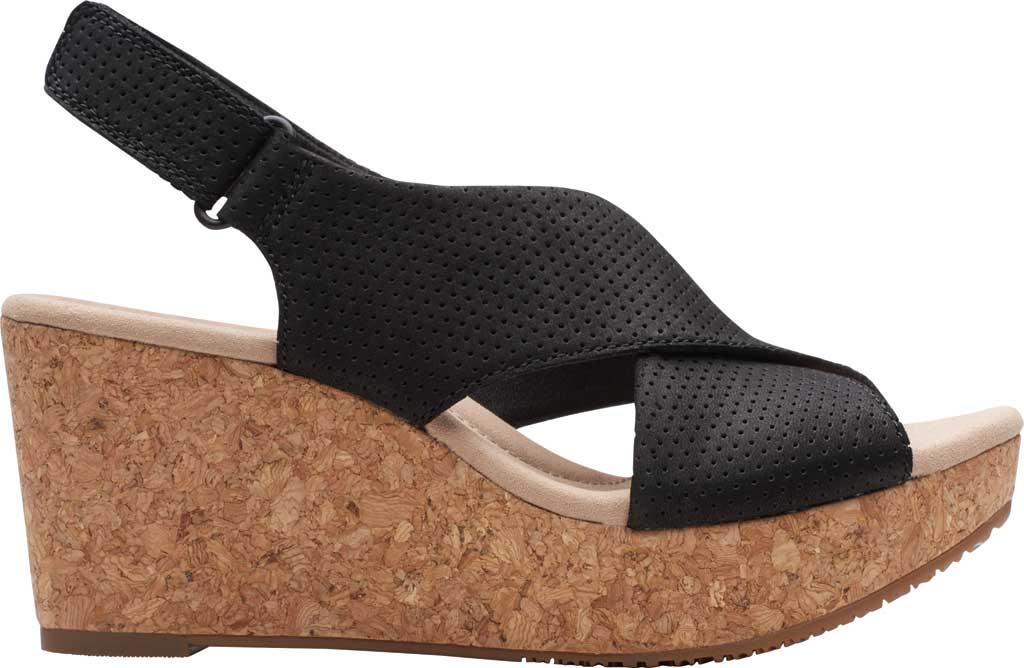 Women's Clarks Annadel Parker Wedge Sandal, Black Suede, large, image 2