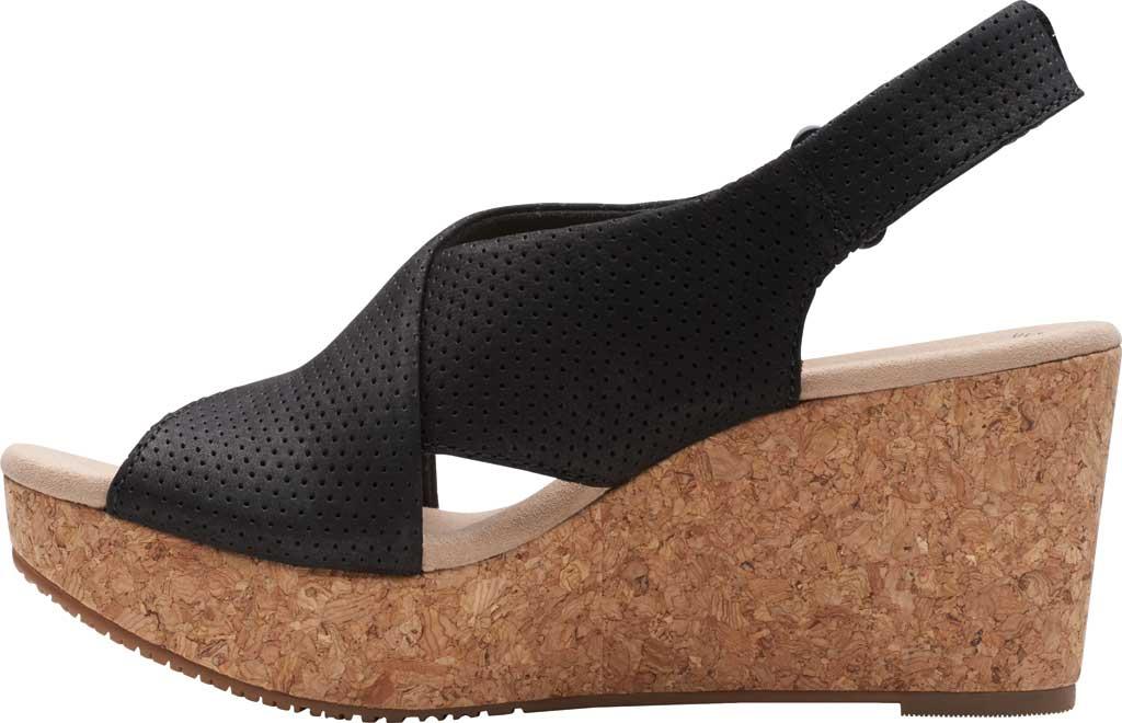 Women's Clarks Annadel Parker Wedge Sandal, Black Suede, large, image 3