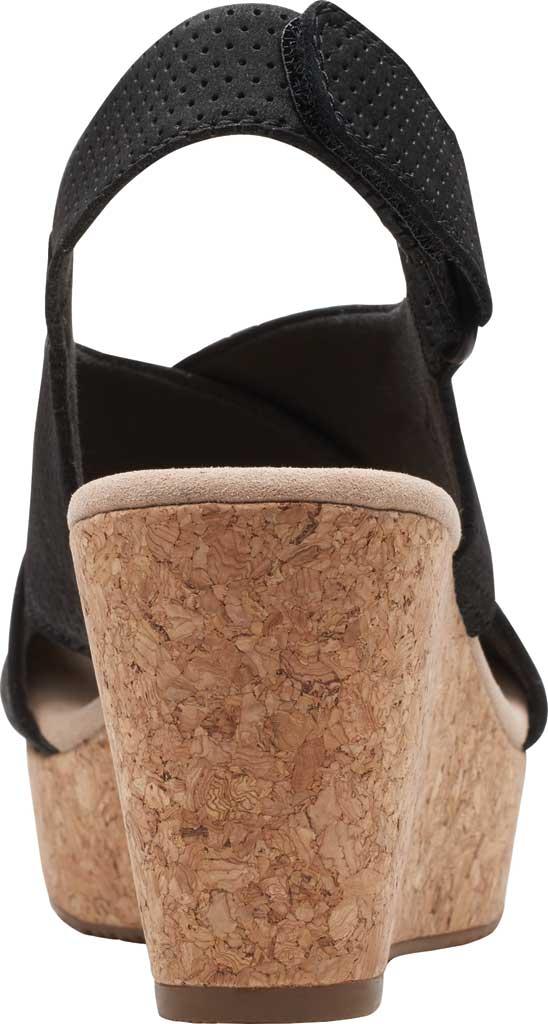 Women's Clarks Annadel Parker Wedge Sandal, Black Suede, large, image 4