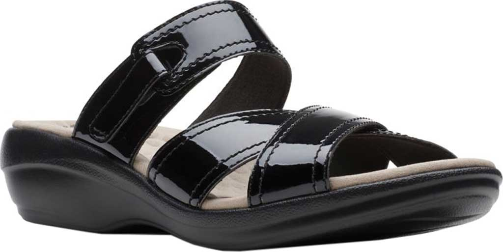 Women's Clarks Alexis Art Slide, Black Synthetic Patent, large, image 1