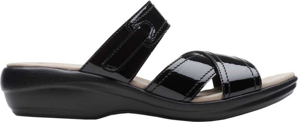Women's Clarks Alexis Art Slide, Black Synthetic Patent, large, image 2