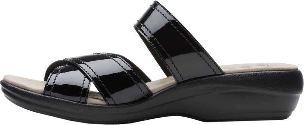Women's Clarks Alexis Art Slide, Black Synthetic Patent, large, image 3