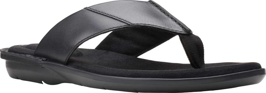 Men's Clarks Ellison Easy Flip Flop, Black Leather, large, image 1