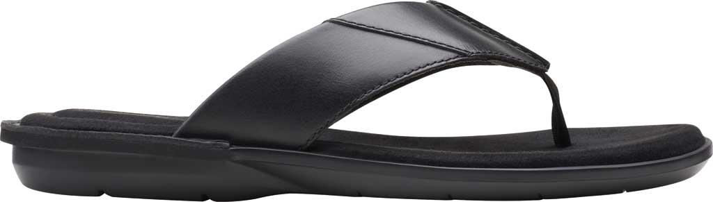 Men's Clarks Ellison Easy Flip Flop, Black Leather, large, image 2