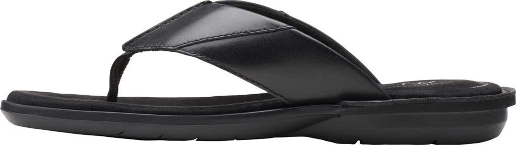 Men's Clarks Ellison Easy Flip Flop, Black Leather, large, image 3