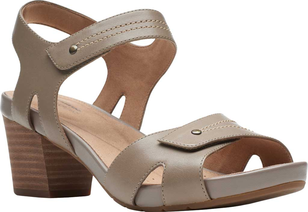 Women's Clarks Un Palma Vibe Heeled Sandal, Taupe Leather, large, image 1