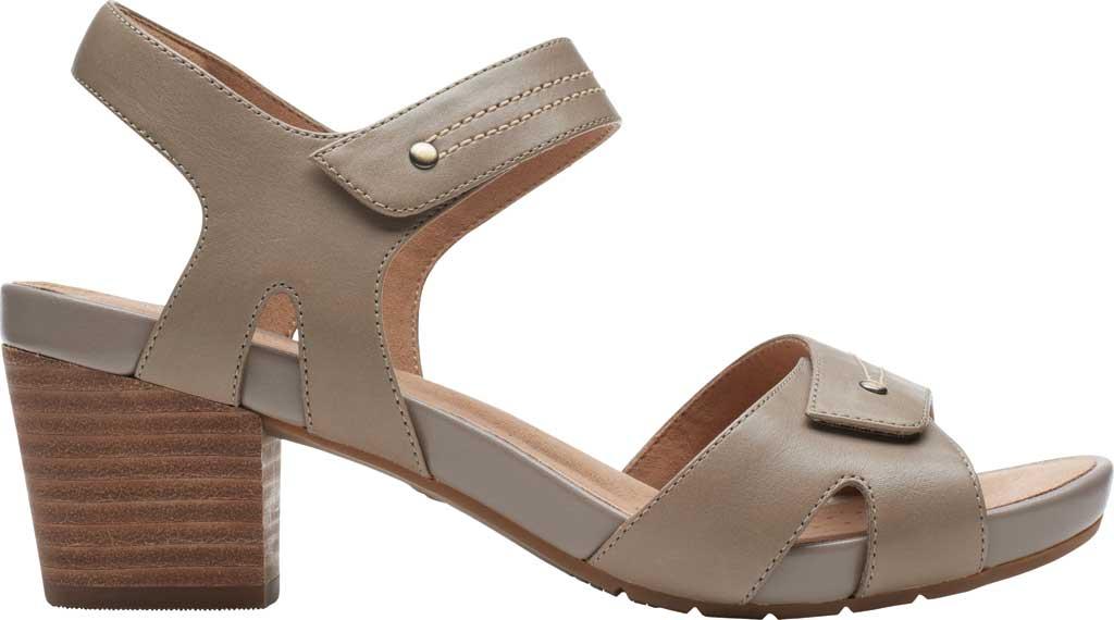 Women's Clarks Un Palma Vibe Heeled Sandal, Taupe Leather, large, image 2