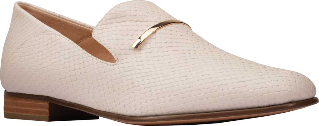 Women's Clarks Pure Viola Trim Loafer, White Snake Leather, large, image 1