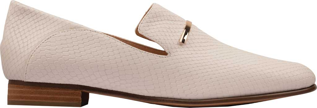 Women's Clarks Pure Viola Trim Loafer, White Snake Leather, large, image 2