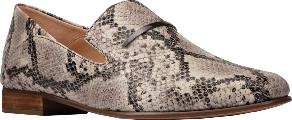 Women's Clarks Pure Viola Trim Loafer, Grey Snake Full Grain Leather, large, image 1