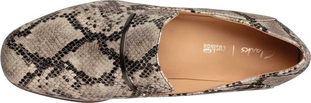 Women's Clarks Pure Viola Trim Loafer, Grey Snake Full Grain Leather, large, image 4