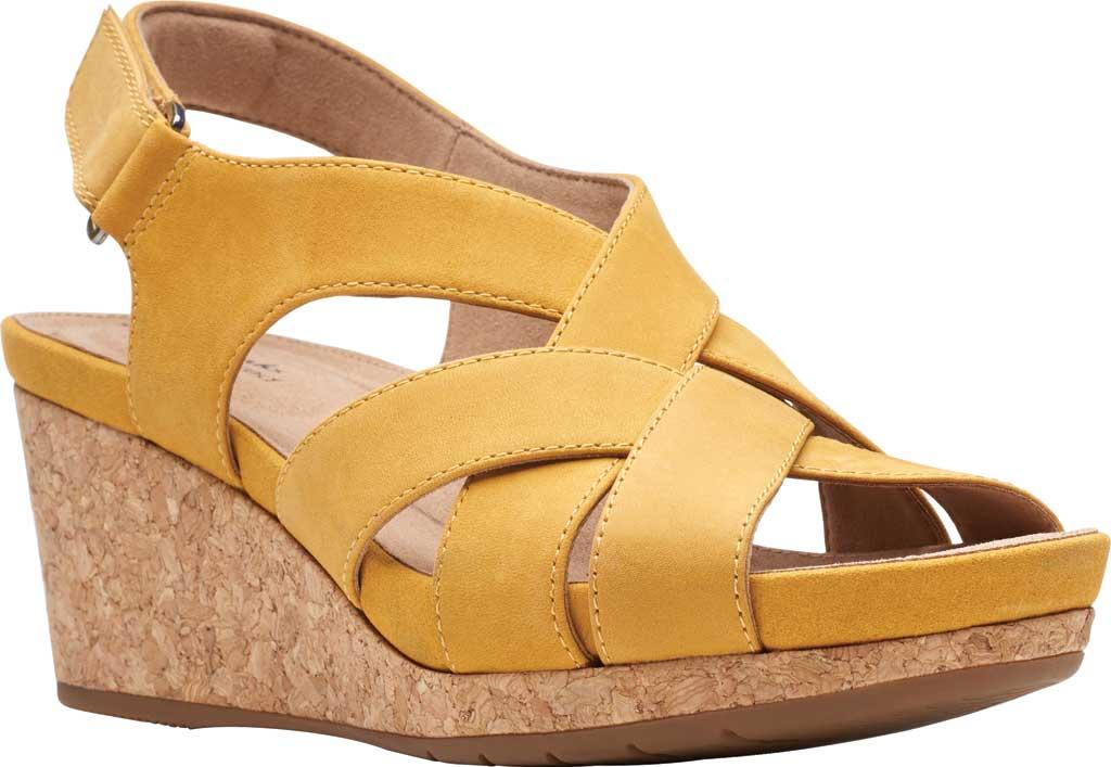 Women's Clarks Un Capri Step Wedge Sandal, Yellow Nubuck, large, image 1